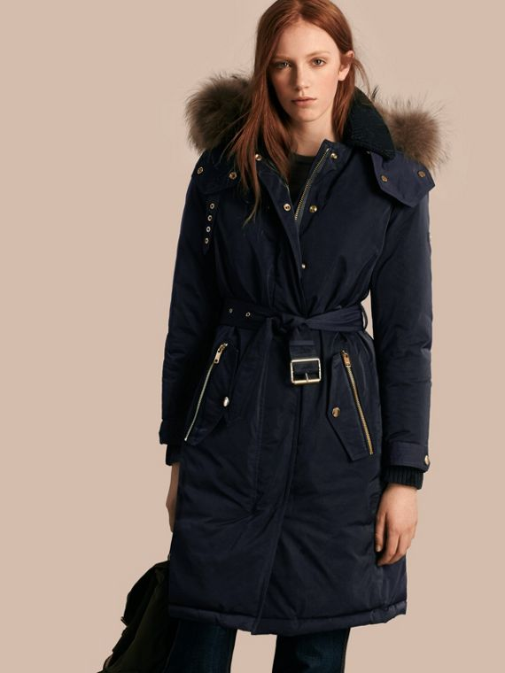 Down-filled Parka Coat with Detachable Fur Trim Navy