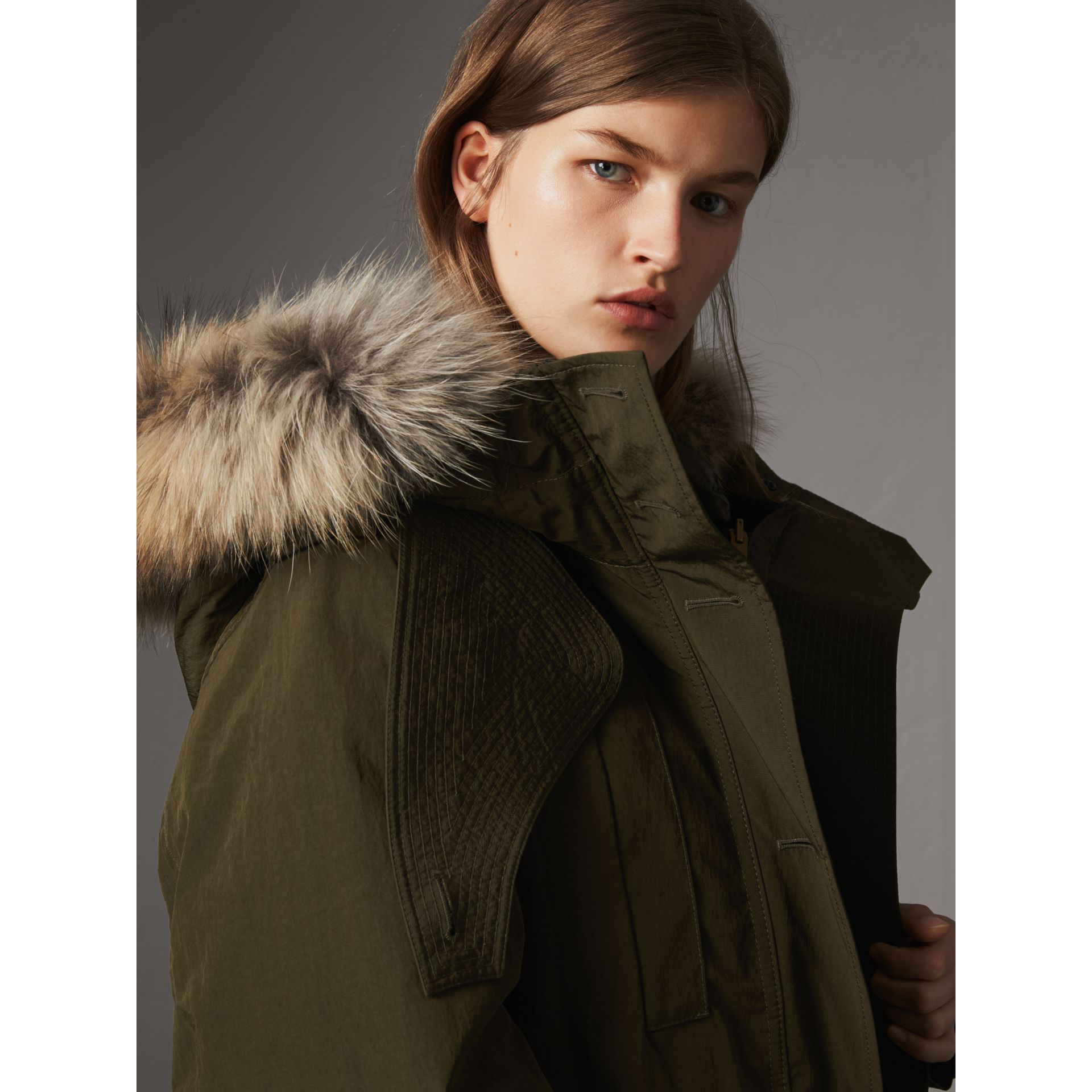 Raccoon Fur and Shearling Trim Parka with Warmer in Dark Olive - Women | Burberry - gallery image 1