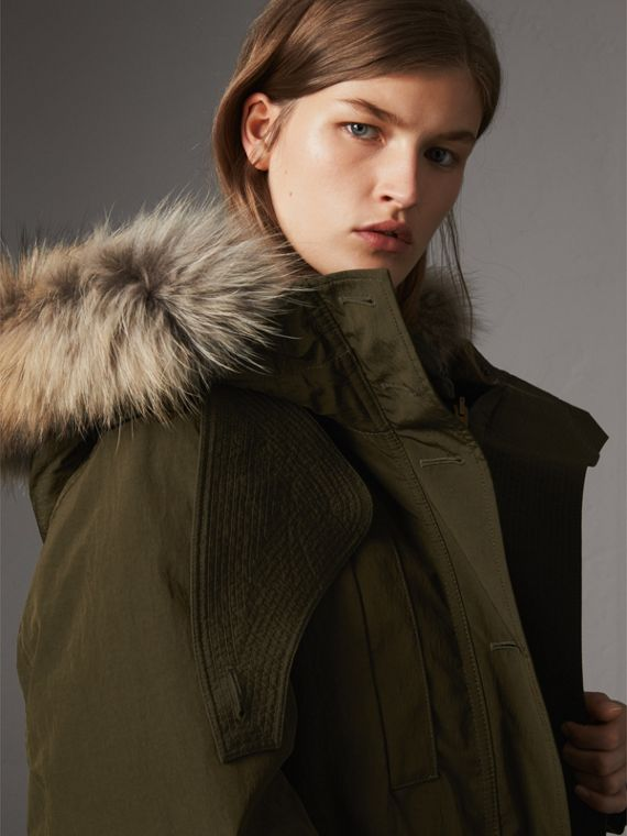 Raccoon Fur and Shearling Trim Parka with Warmer in Dark Olive