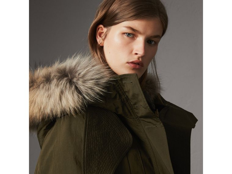 Raccoon Fur and Shearling Trim Parka with Warmer in Dark Olive - Women | Burberry - cell image 1