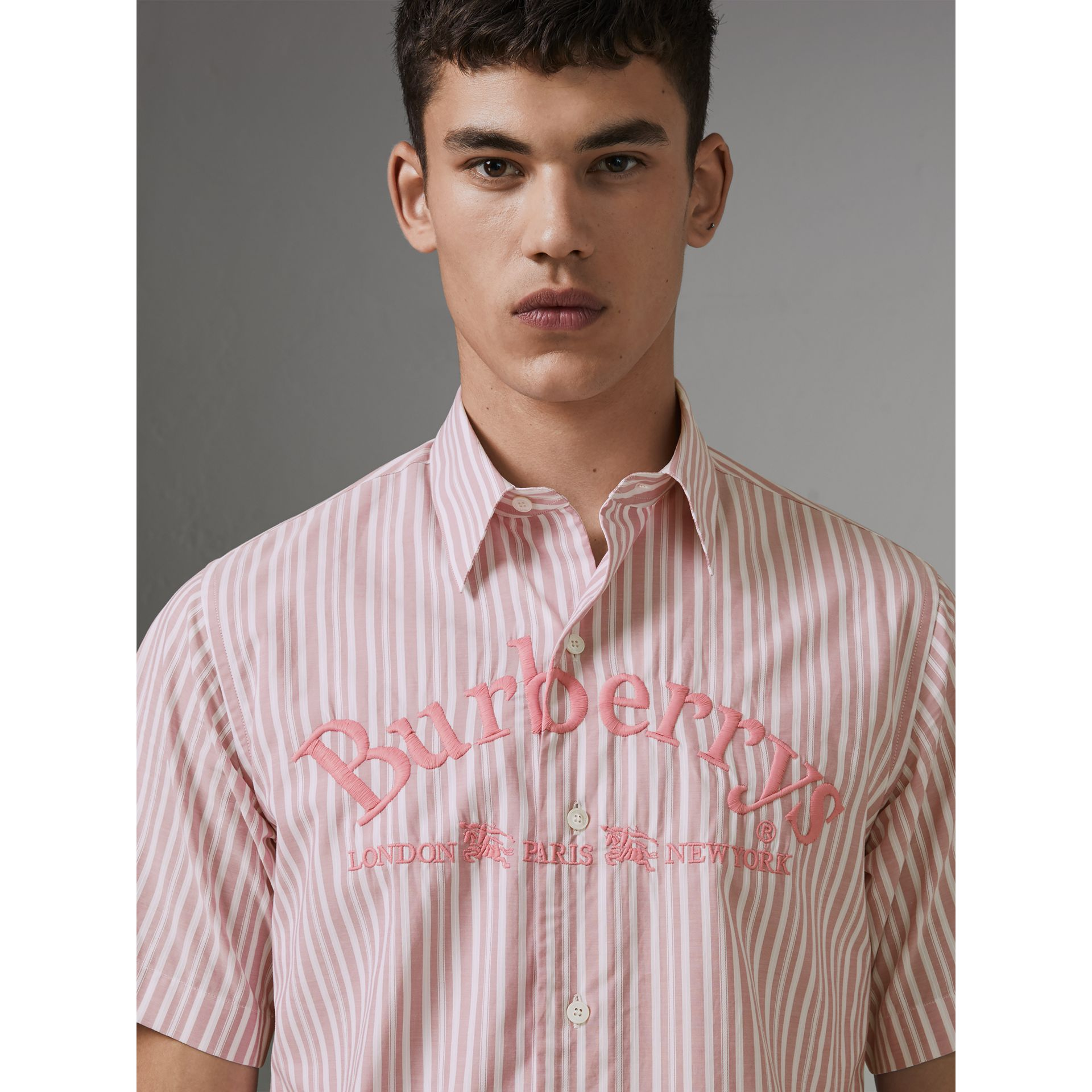 Embroidered Archive Logo Striped Short-sleeve Shirt in Light Pink - Men | Burberry Australia - gallery image 1