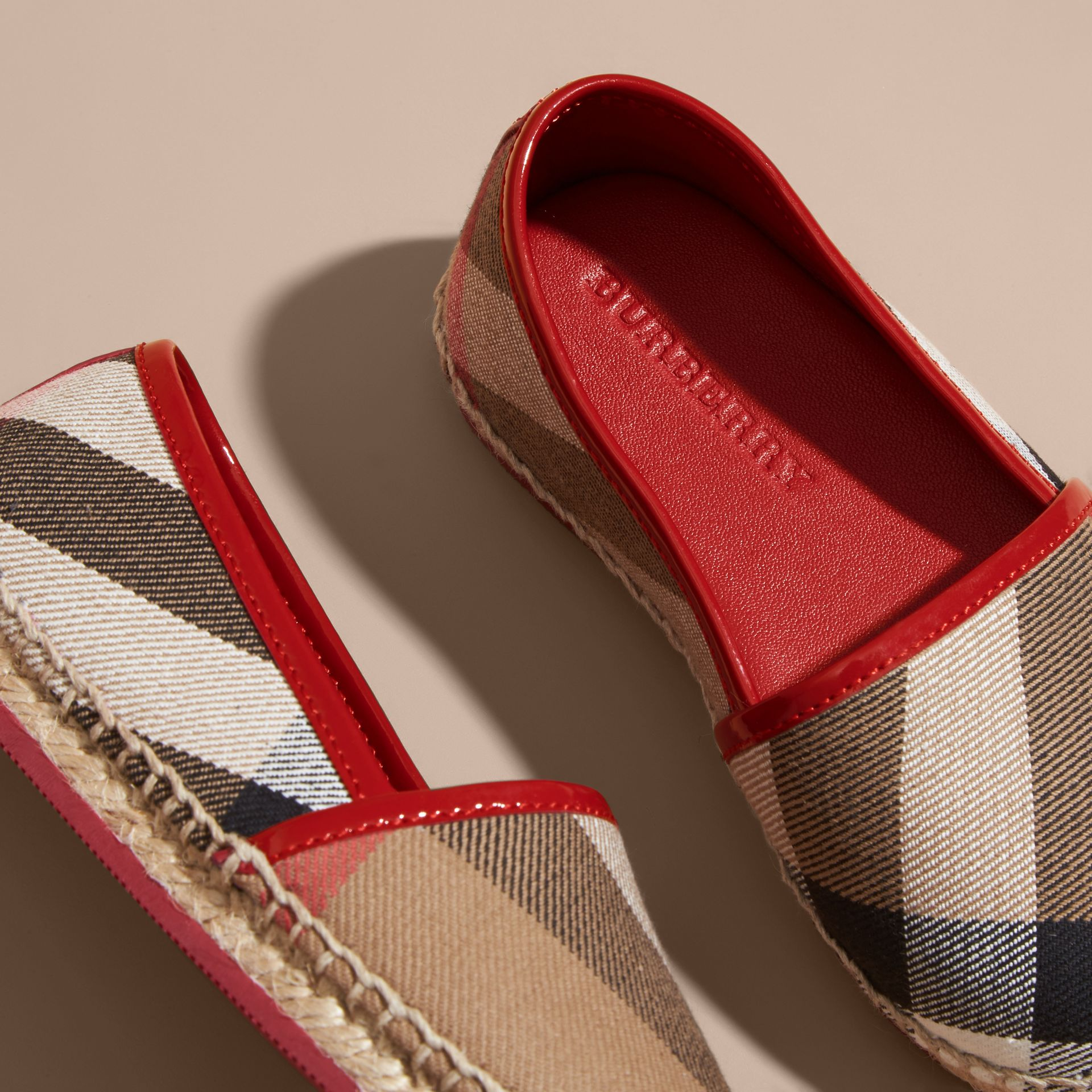 Leather and House Check Espadrilles Berry Pink - gallery image 2