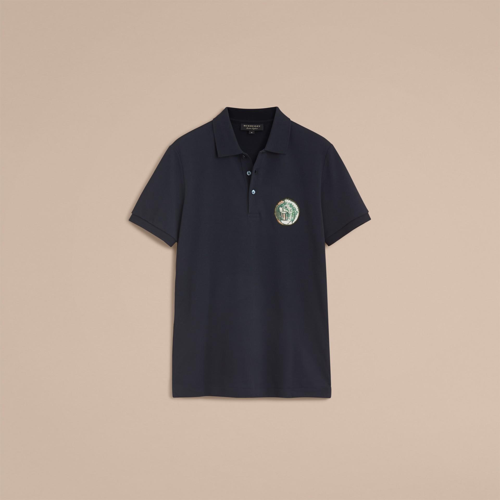Pallas Heads Appliqué Cotton Polo Shirt in Dark Navy - gallery image 4