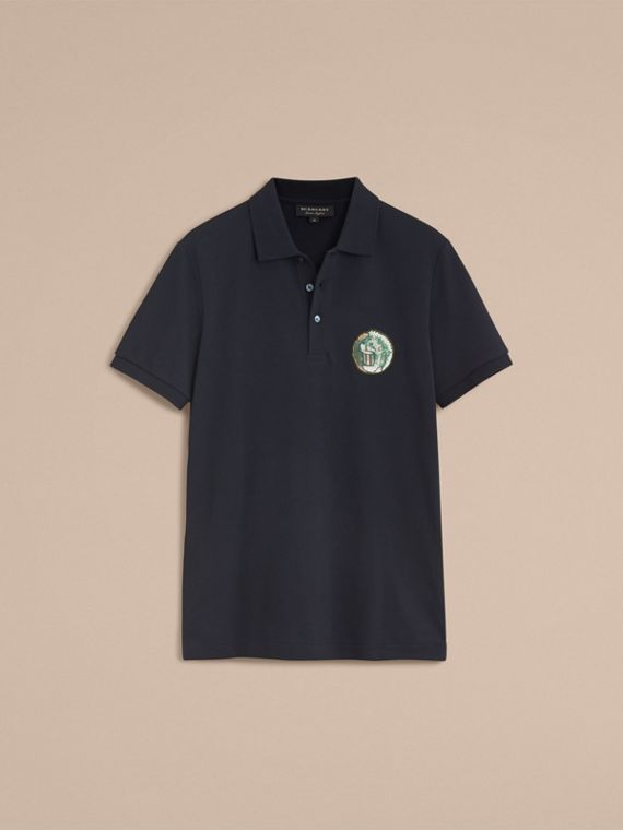 Pallas Heads Appliqué Cotton Polo Shirt in Dark Navy - cell image 3