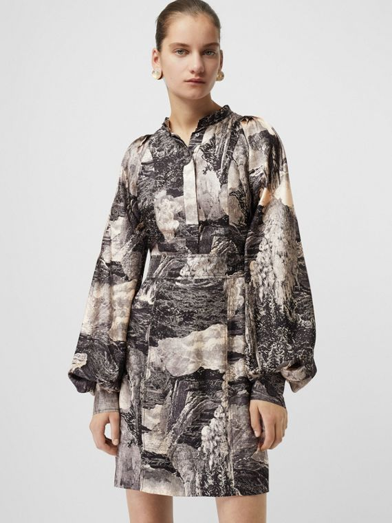 Dreamscape Print Silk Shirt Dress in Pale Apricot