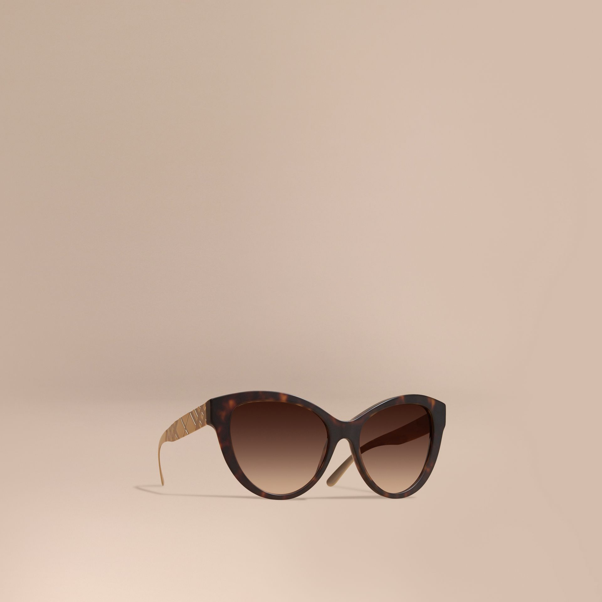 Tortoiseshell 3D Check Cat-eye Sunglasses Tortoiseshell - gallery image 1