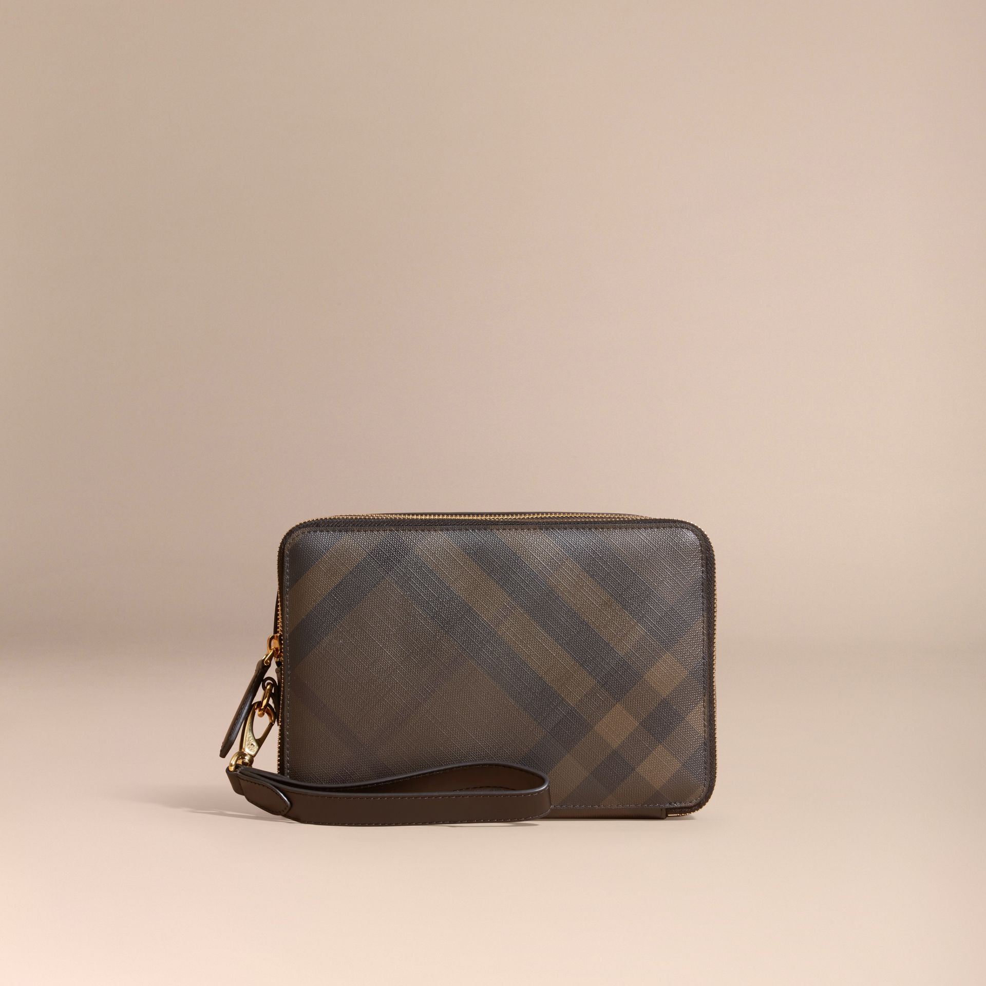 Leather-trimmed London Check Pouch in Chocolate/black - Men | Burberry - gallery image 6