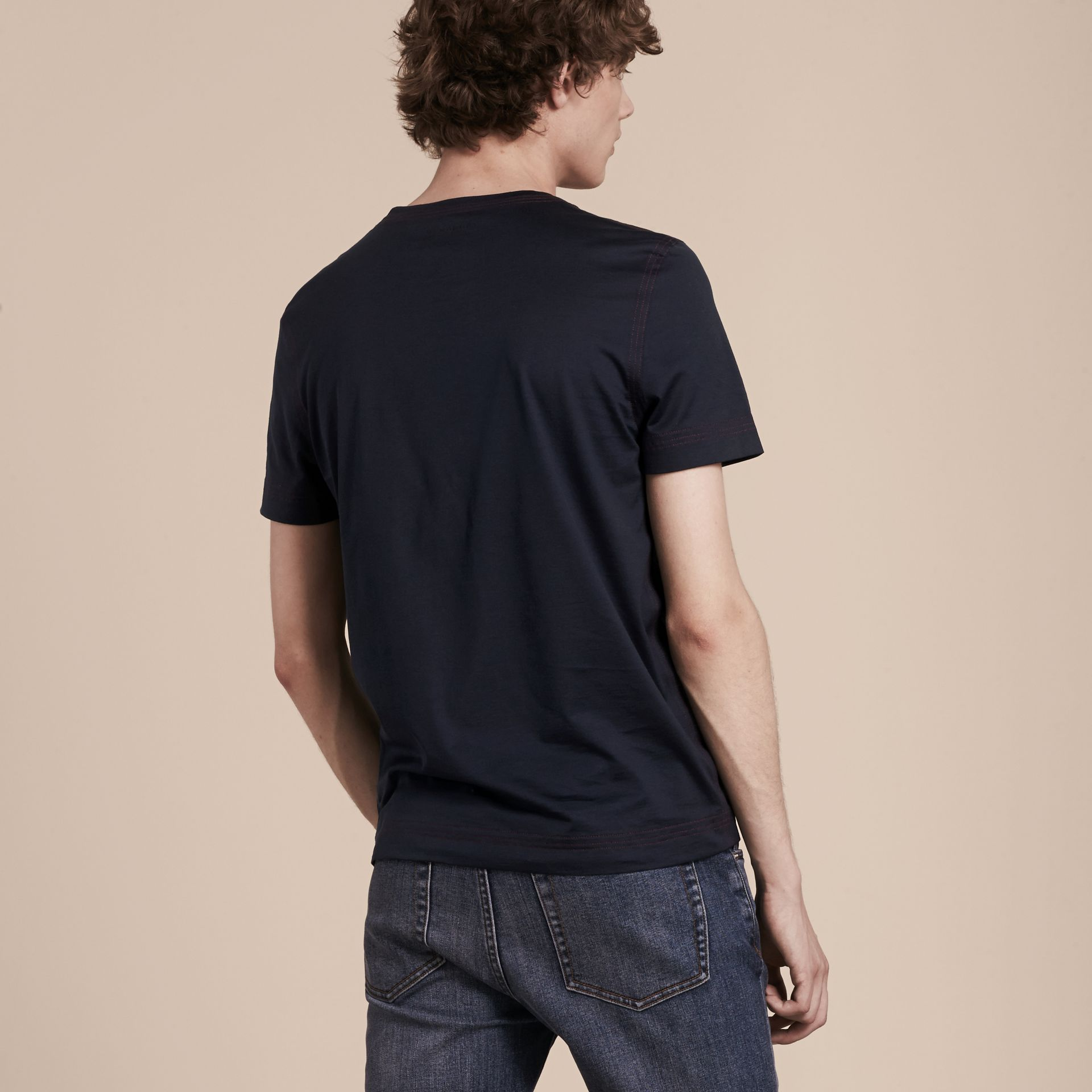 Navy Topstitch Detail Cotton T-shirt Navy - gallery image 3