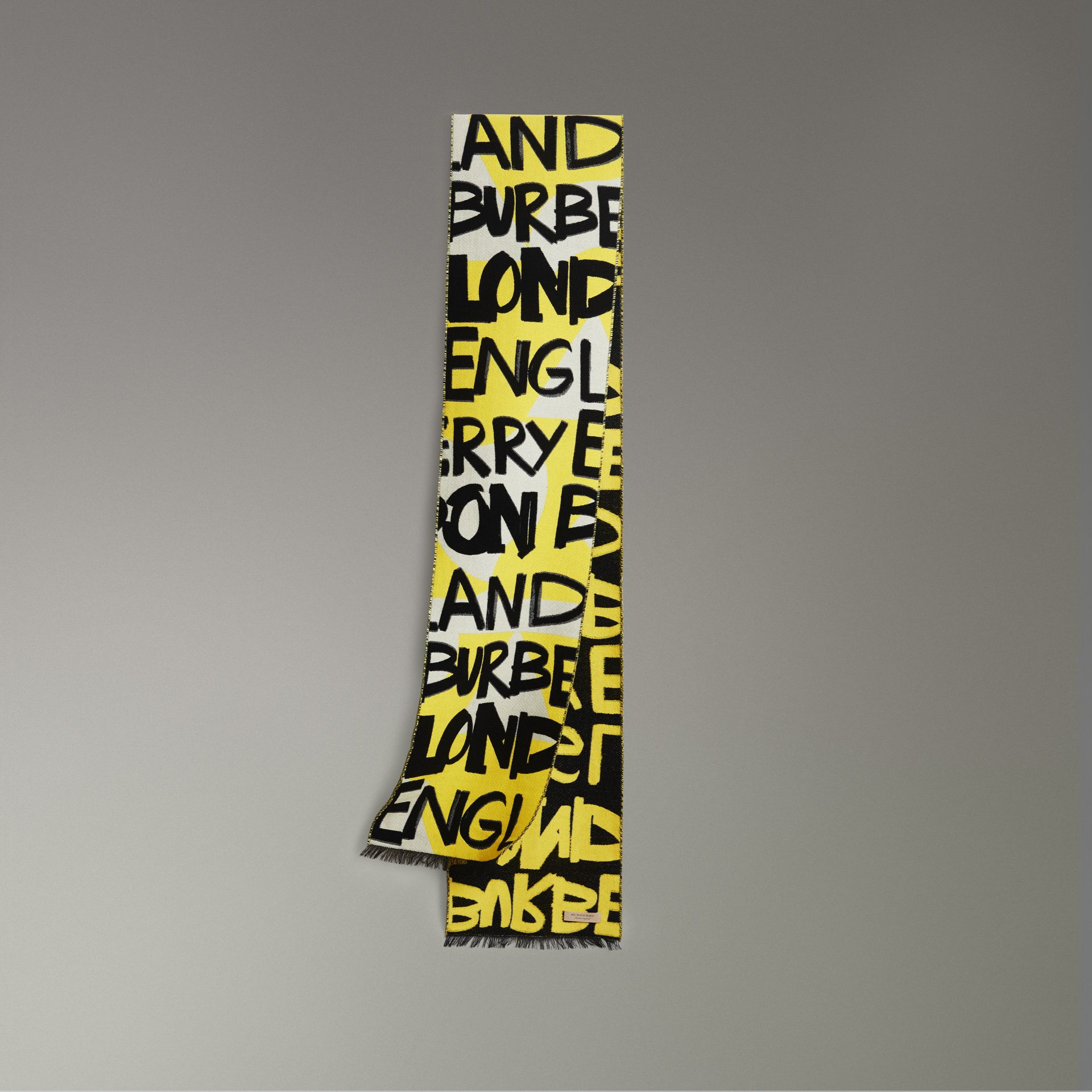 Graffiti Cotton Jacquard Scarf in Bright Yellow | Burberry Singapore - gallery image 0
