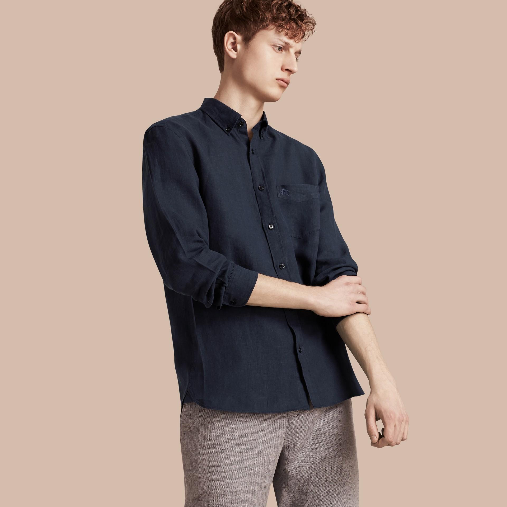 Синий Рубашка с воротником на пуговицах Синий - изображение 1