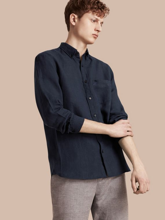 Button-down Collar Linen Shirt Navy