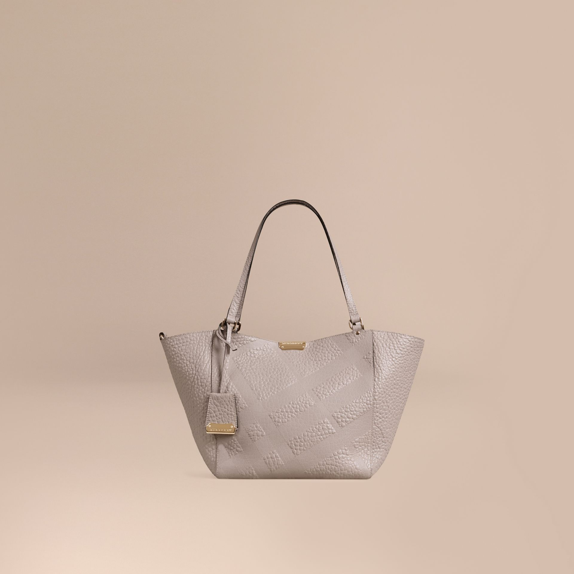 Pale grey The Small Canter in Check Embossed Leather Pale Grey - gallery image 1
