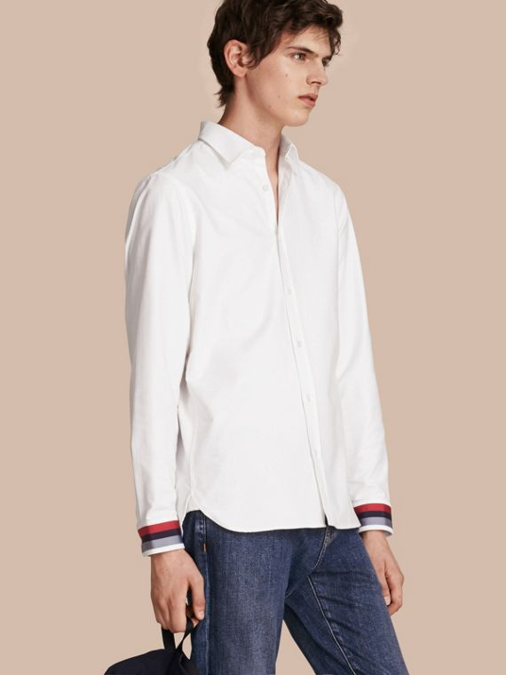 Oxford Cotton Shirt with Regimental Cuff Detail White