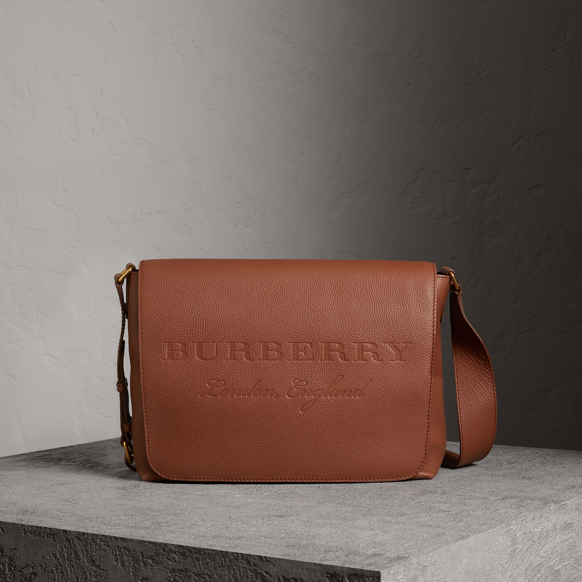 Large Embossed Leather Messenger Bag in Chestnut Brown | Burberry - gallery image 0