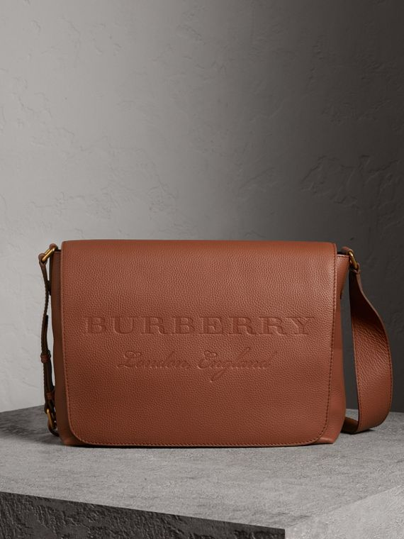 Large Embossed Leather Messenger Bag in Chestnut Brown