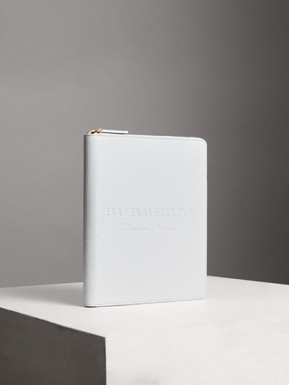 Embossed Leather Ziparound A5 Notebook Case in Chalk White