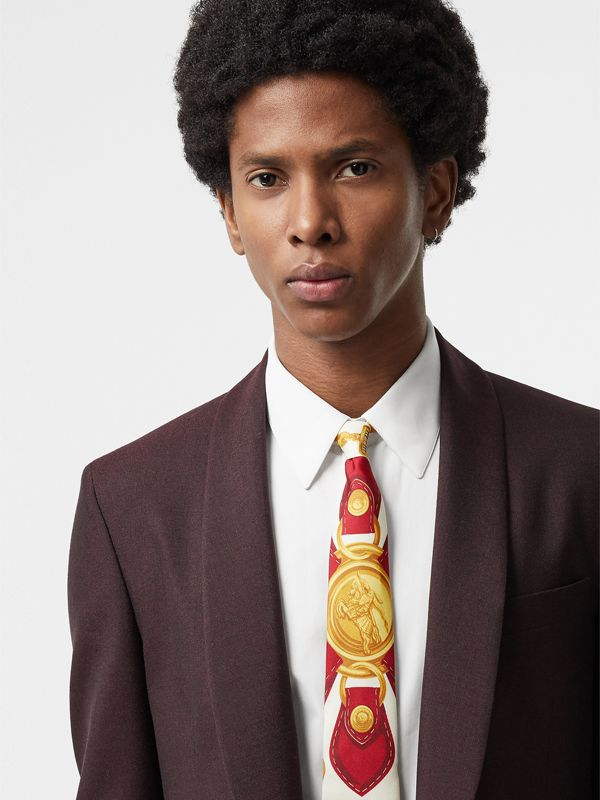 Modern Cut Archive Scarf Print Silk Tie in Burgundy - Men | Burberry - cell image 2