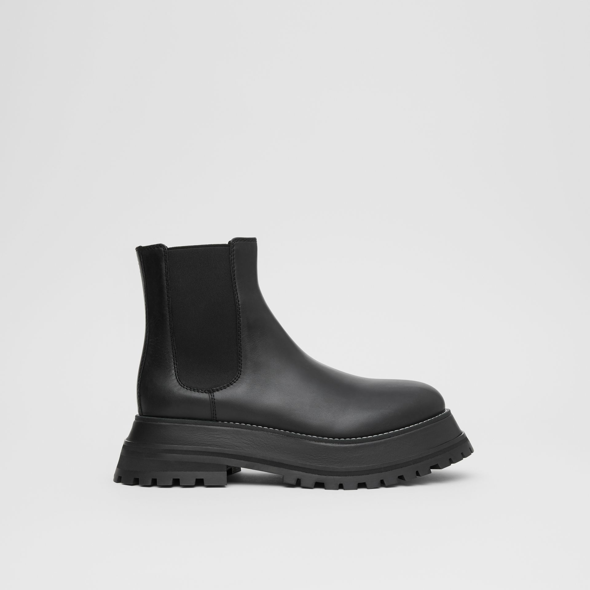 Leather Chelsea Boots in Black/black - Women | Burberry - gallery image 5