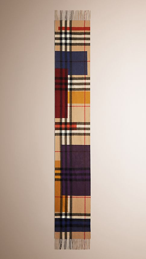 Dark camel check Colour Block Check Cashmere Scarf - Image 4