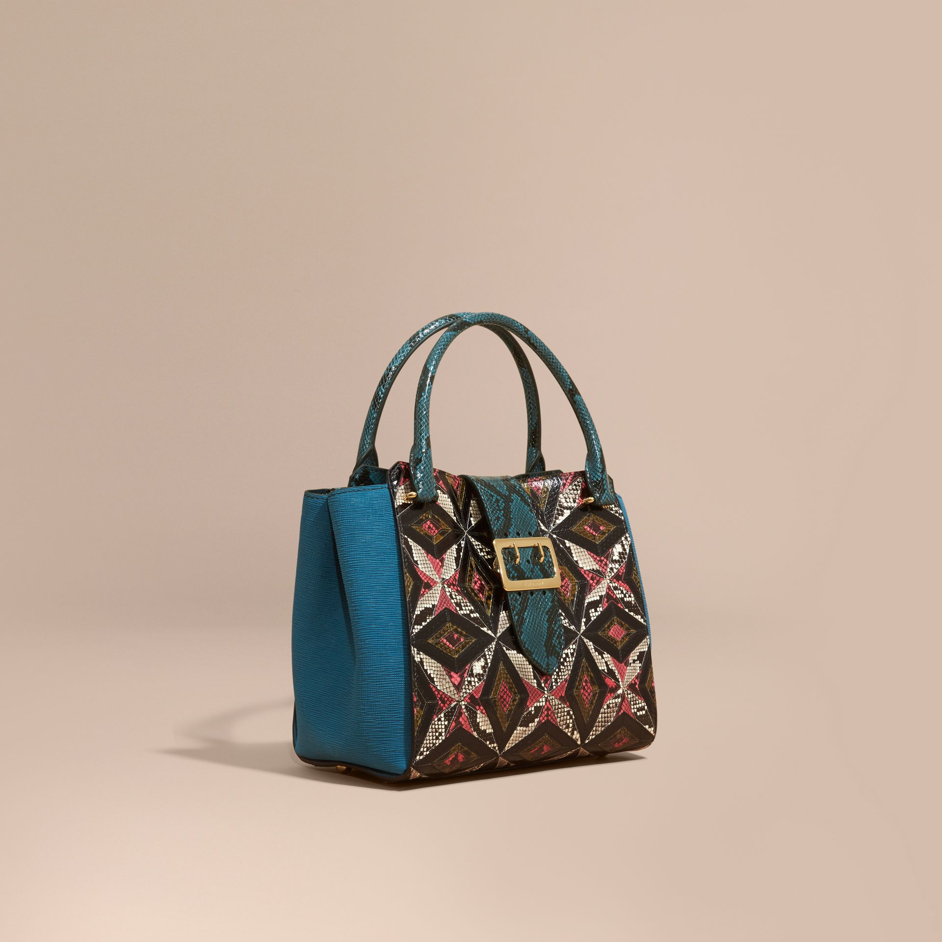 The Medium Buckle Tote in Tiled Snakeskin in Light Crimson - gallery image 1