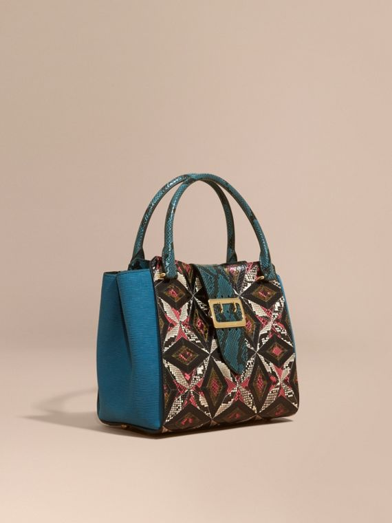 The Medium Buckle Tote in Tiled Snakeskin in Light Crimson