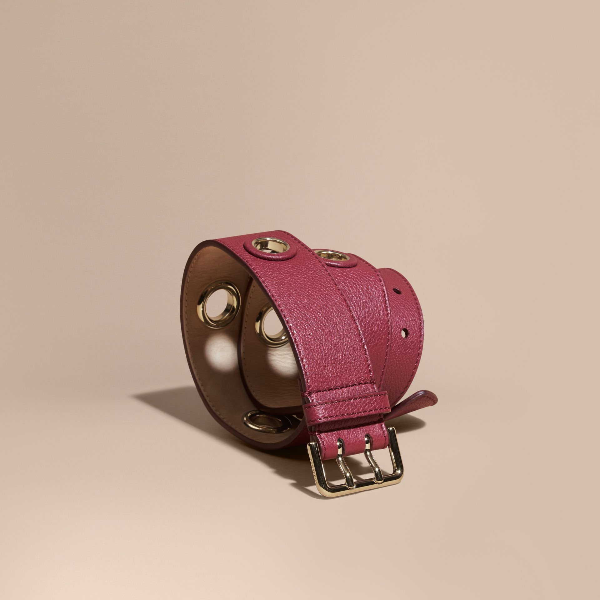 Dark plum Eyelet Detail Grainy Leather Belt Dark Plum - gallery image 1
