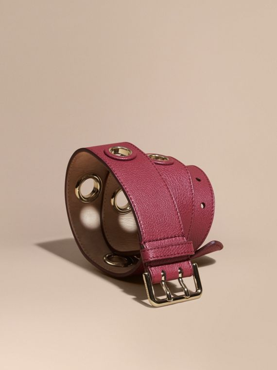 Eyelet Detail Grainy Leather Belt Dark Plum