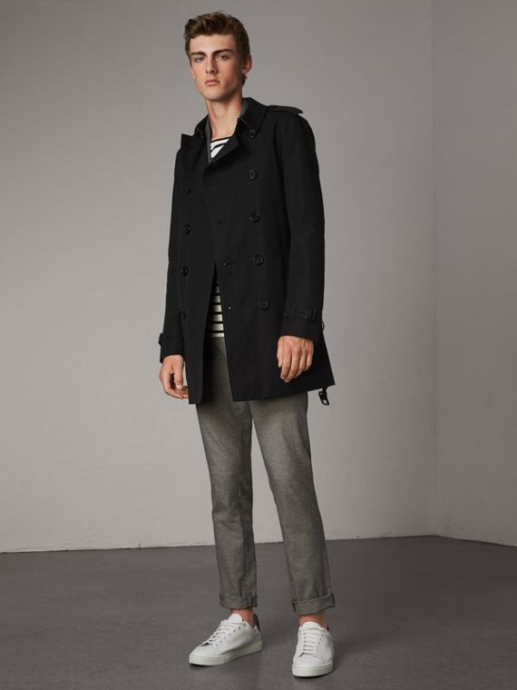 The Chelsea – Mid-length Trench Coat in Black