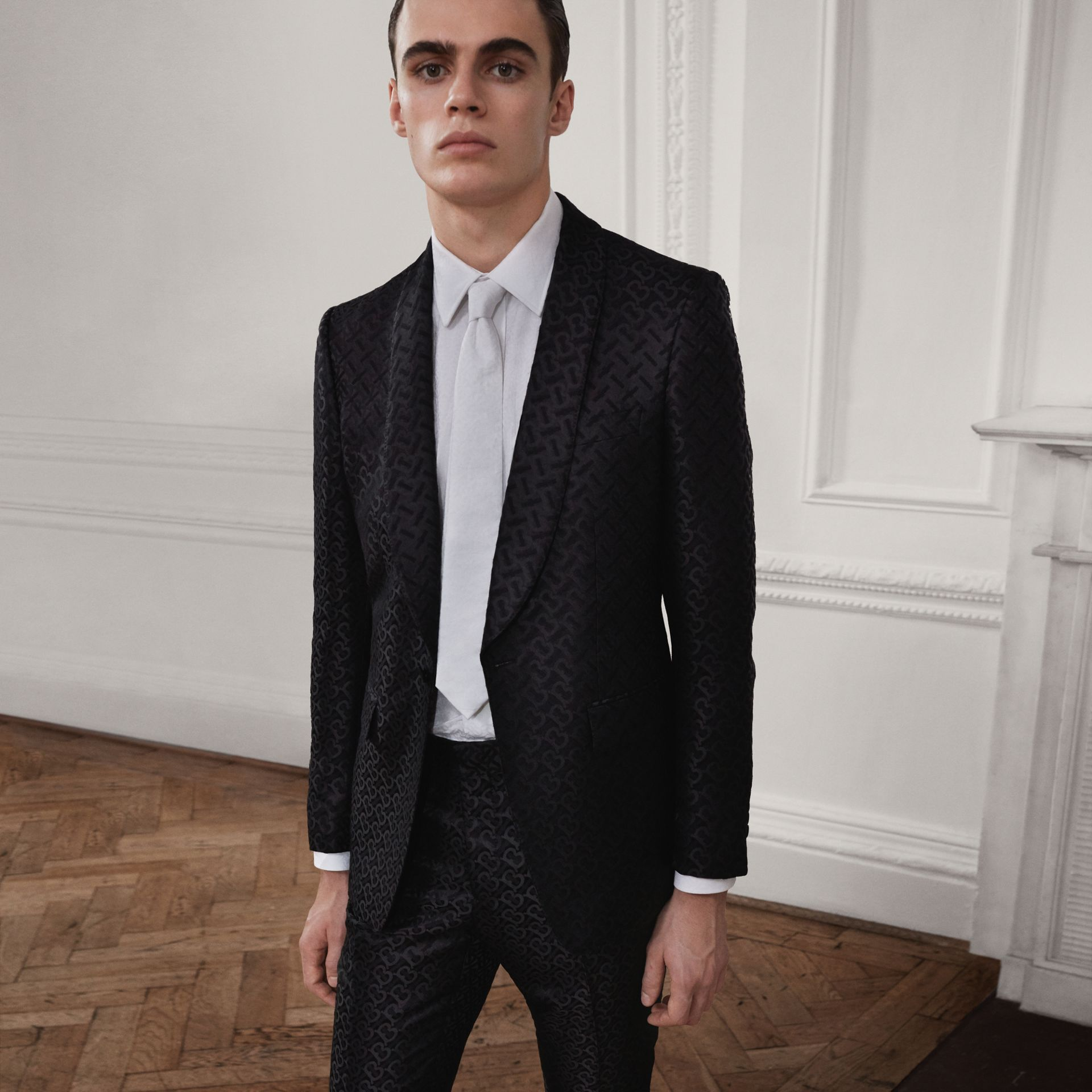 English Fit Monogram Wool Blend Jacquard Tuxedo in Black - Men | Burberry - gallery image 1