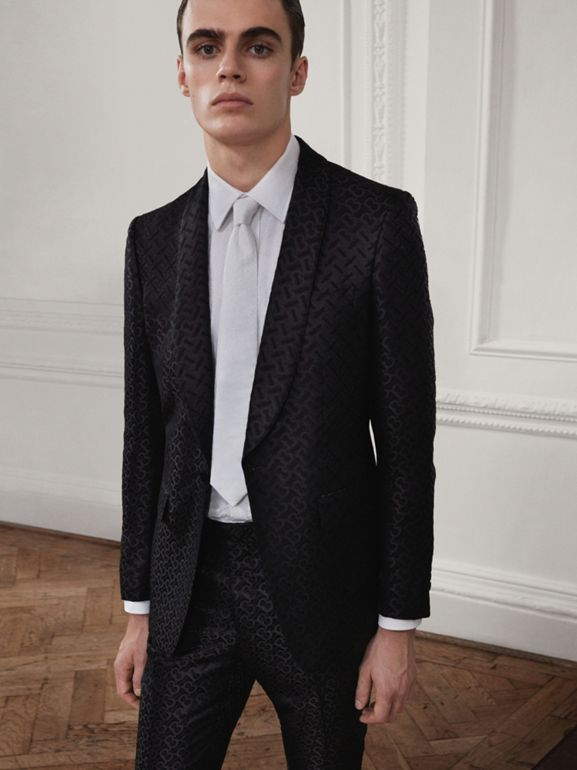 English Fit Monogram Wool Blend Jacquard Tuxedo in Black - Men | Burberry - cell image 1
