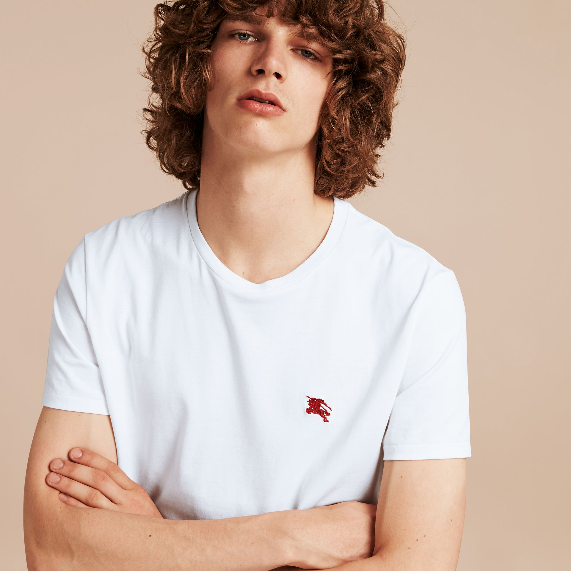Cotton Jersey T-shirt in Optic White - Men | Burberry - gallery image 5
