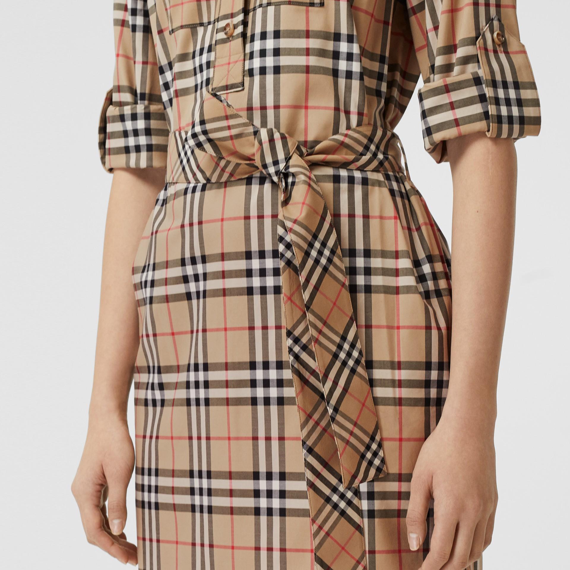 Logo Appliqué Check Cotton Tie-waist Shirt Dress in Archive Beige - Women   Burberry - gallery image 4