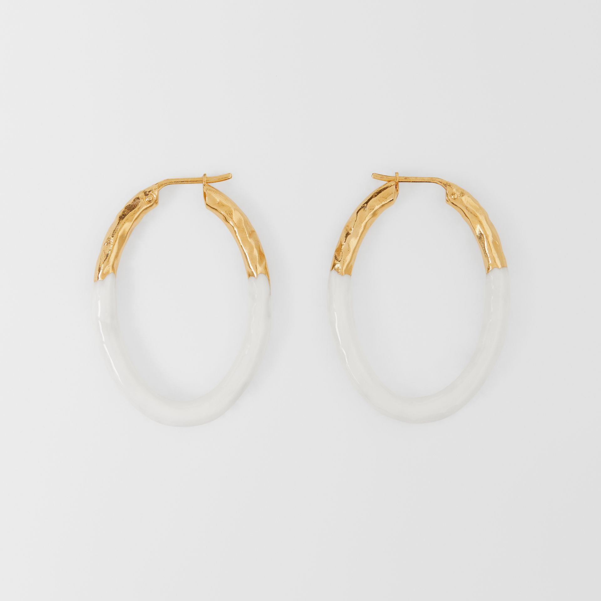 Enamel and Gold-plated Hoop Earrings in Light Gold/white - Women | Burberry United Kingdom - gallery image 0