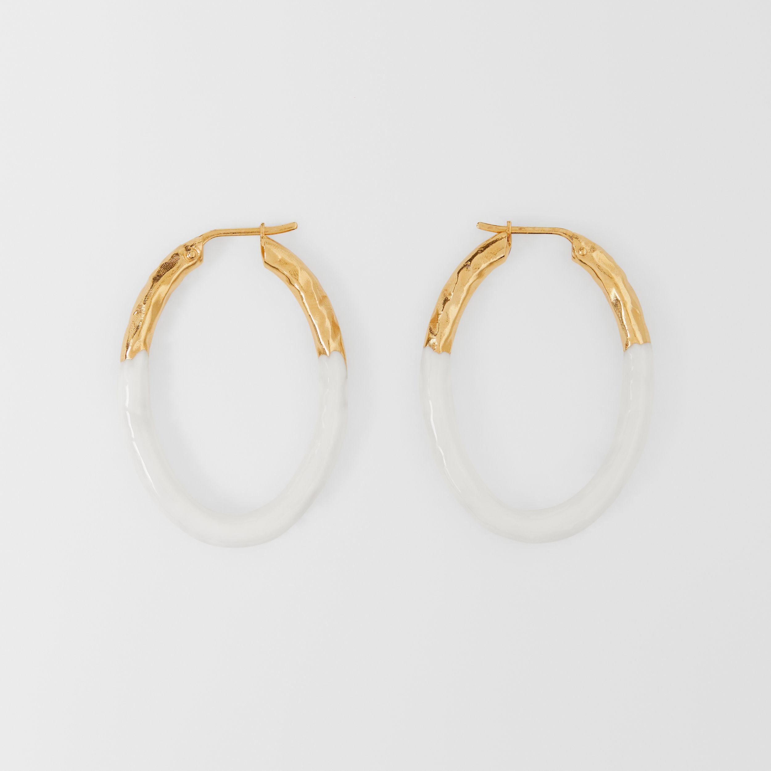 Enamel and Gold-plated Hoop Earrings in Light Gold/white - Women | Burberry - 1