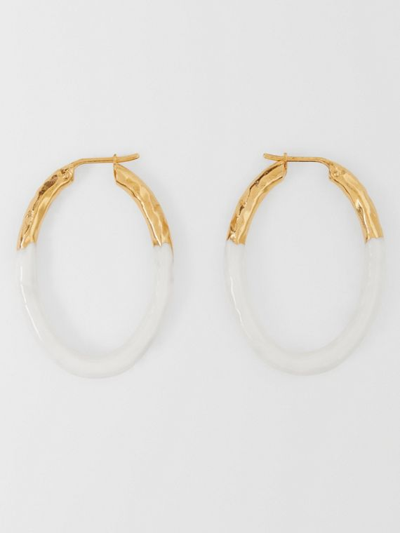 Enamel and Gold-plated Hoop Earrings in Light Gold/white