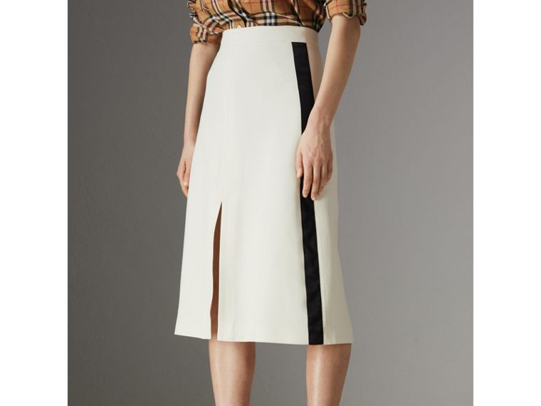 Sport Stripe Wool Silk A-line Skirt in Off White - Women | Burberry Hong Kong - cell image 4