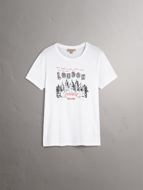 London Skyline Print Cotton T-shirt in White - Men | Burberry - cell image 3