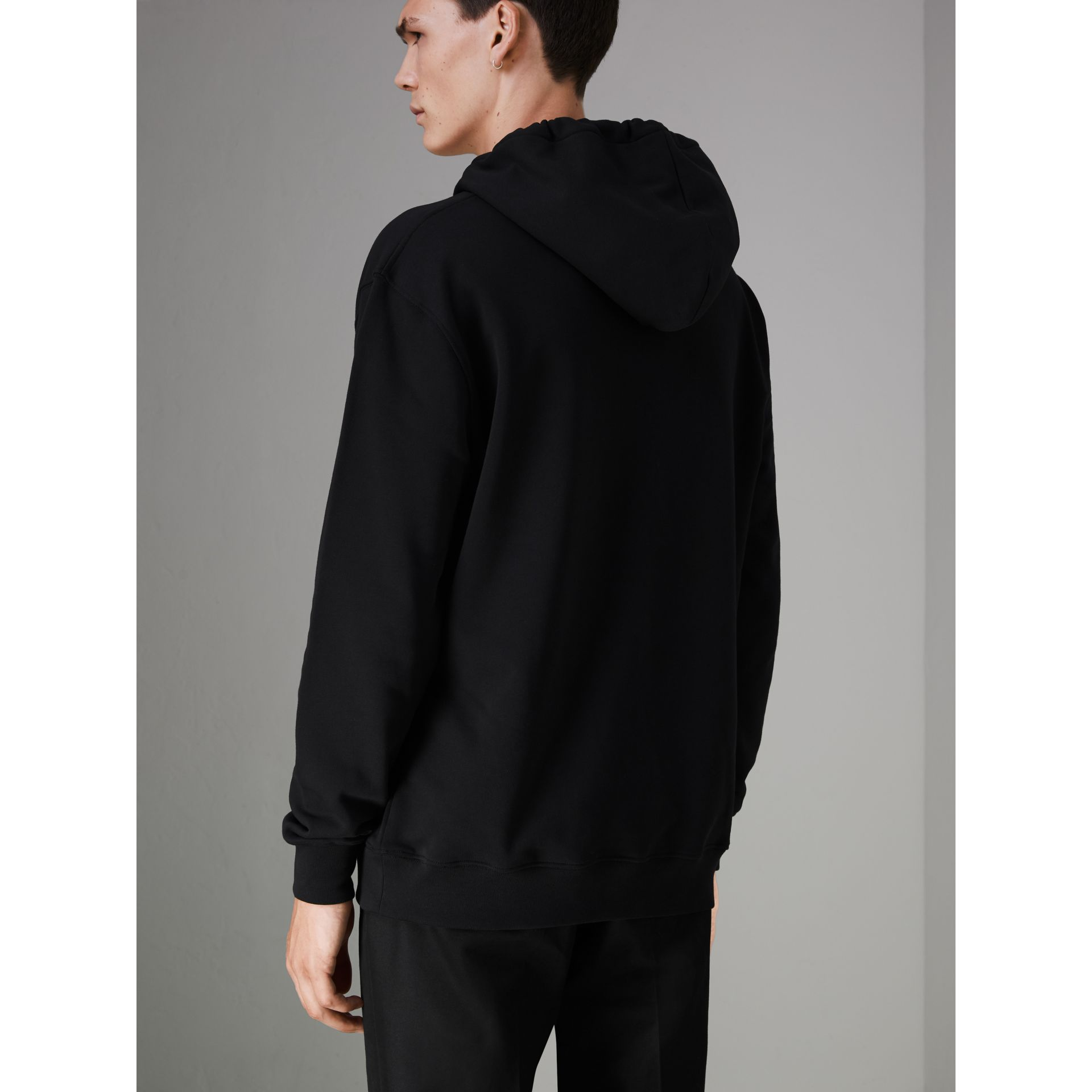 Ticket Print Pocket Cotton Jersey Hoodie in Black - Men | Burberry - gallery image 2
