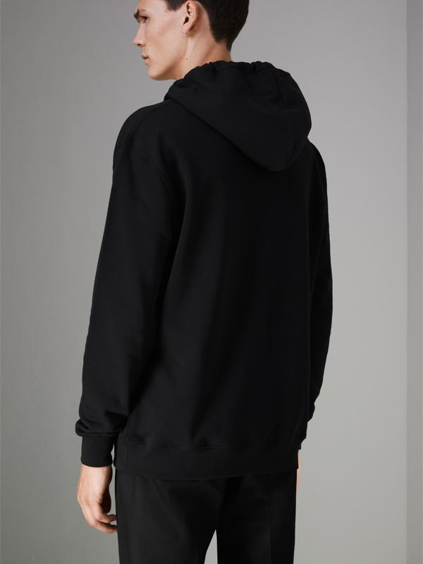 Ticket Print Pocket Cotton Jersey Hoodie in Black - Men | Burberry Hong Kong - cell image 2