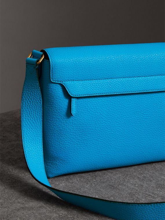 Medium Embossed Leather Messenger Bag in Neon Blue | Burberry - cell image 2
