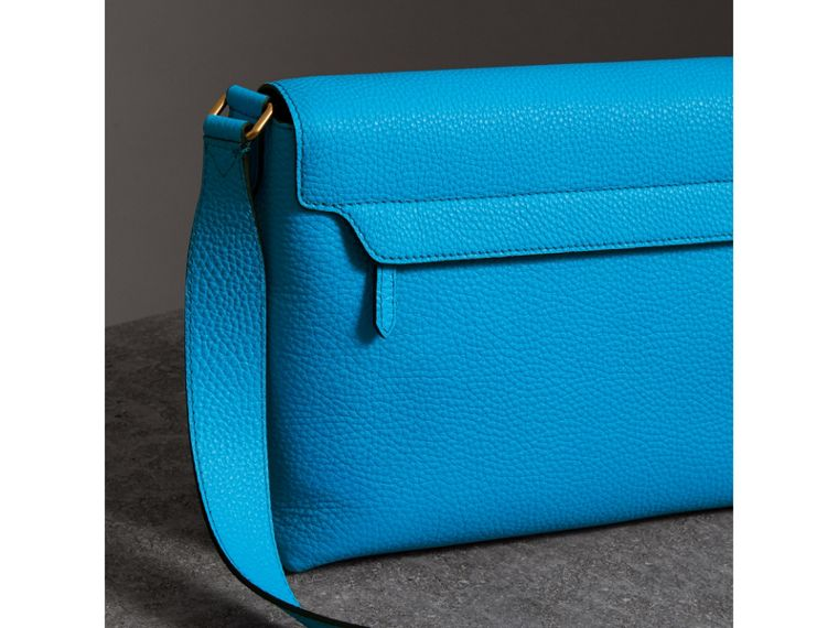 Medium Embossed Leather Messenger Bag in Neon Blue | Burberry - cell image 4
