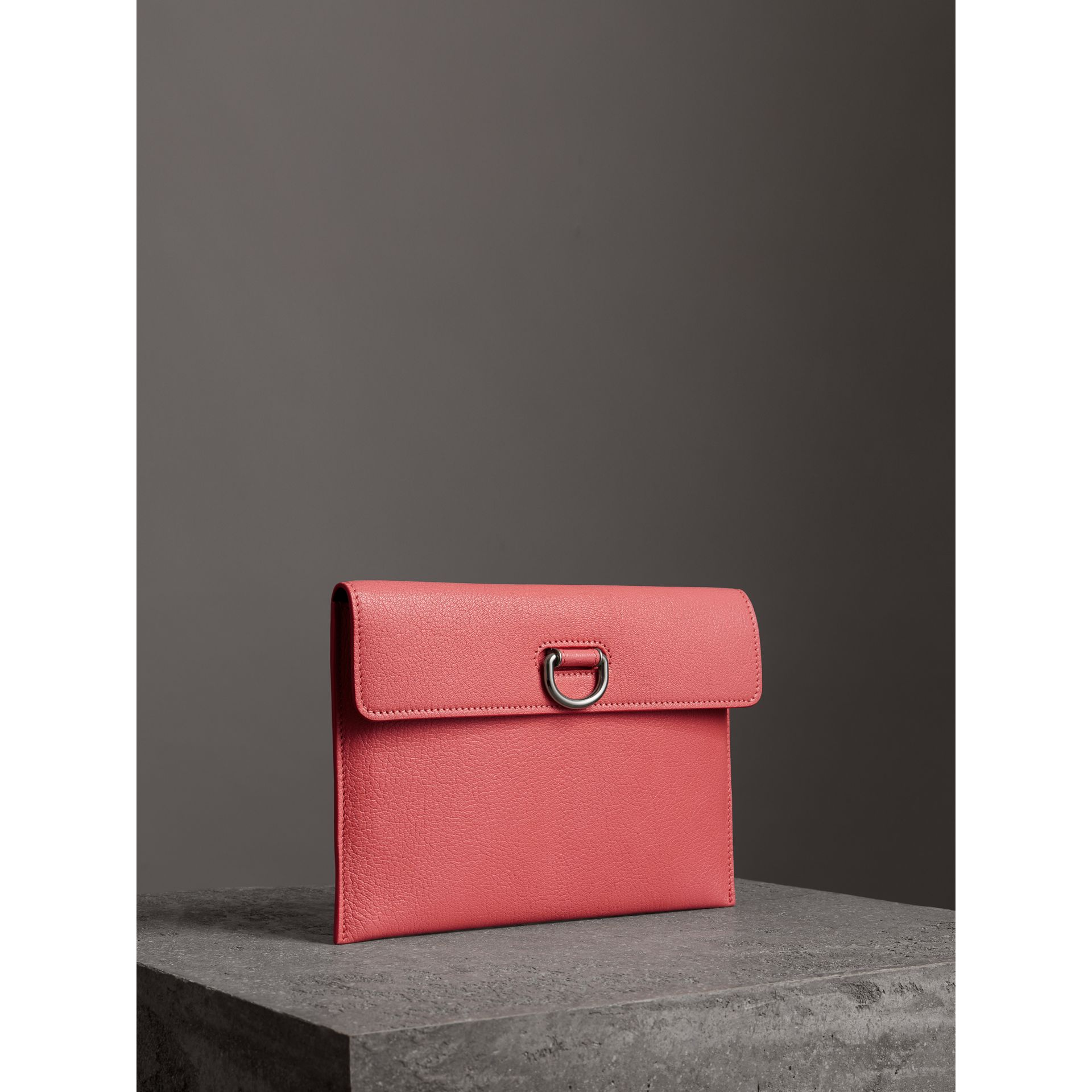D-ring Leather Pouch with Zip Coin Case in Bright Coral Pink - Women | Burberry - gallery image 4