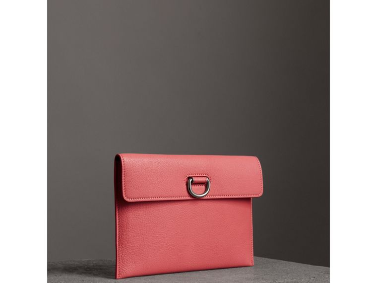 D-ring Leather Pouch with Zip Coin Case in Bright Coral Pink - Women | Burberry - cell image 4
