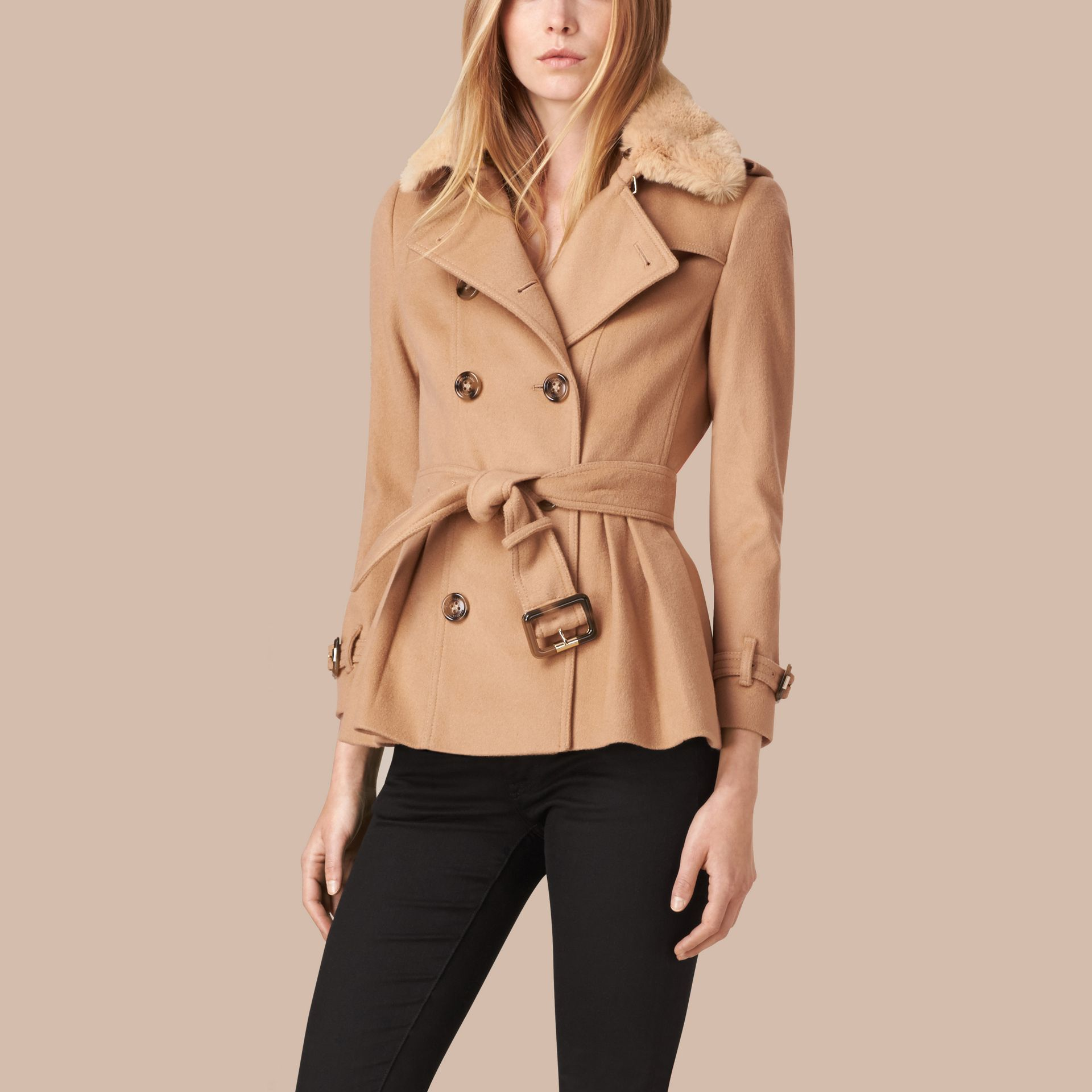 Camel Wool Cashmere Jacket with Detachable Rabbit Fur Collar - gallery image 6