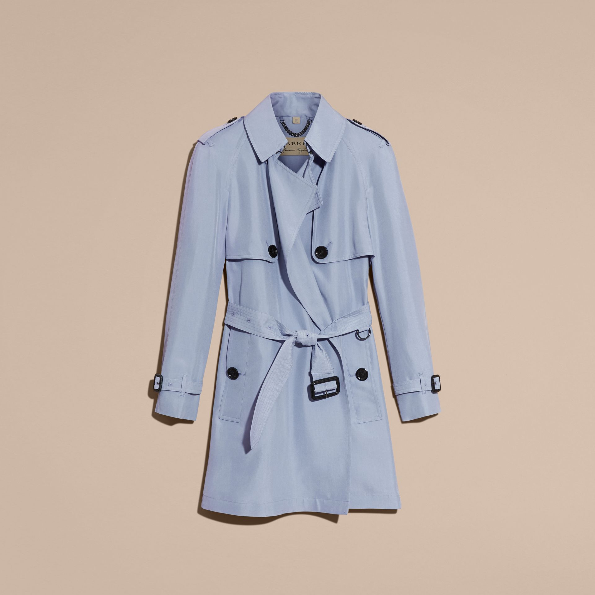 Pale blue Lightweight Slub Silk Wrap Trench Coat - gallery image 4