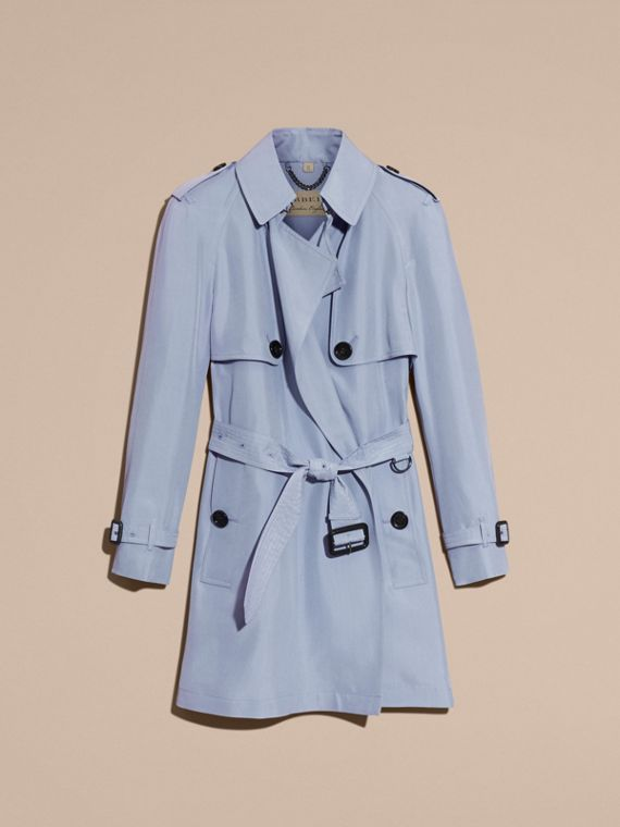 Pale blue Lightweight Slub Silk Wrap Trench Coat - cell image 3