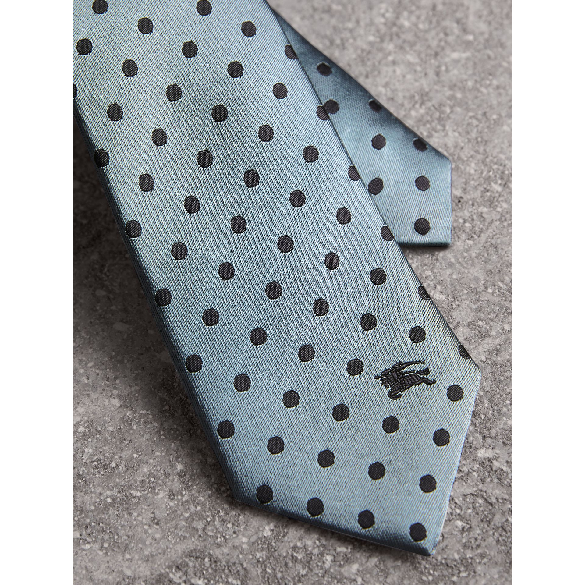 Modern Cut Polka-dot Silk Tie in Light Azure - Men | Burberry United Kingdom - gallery image 2