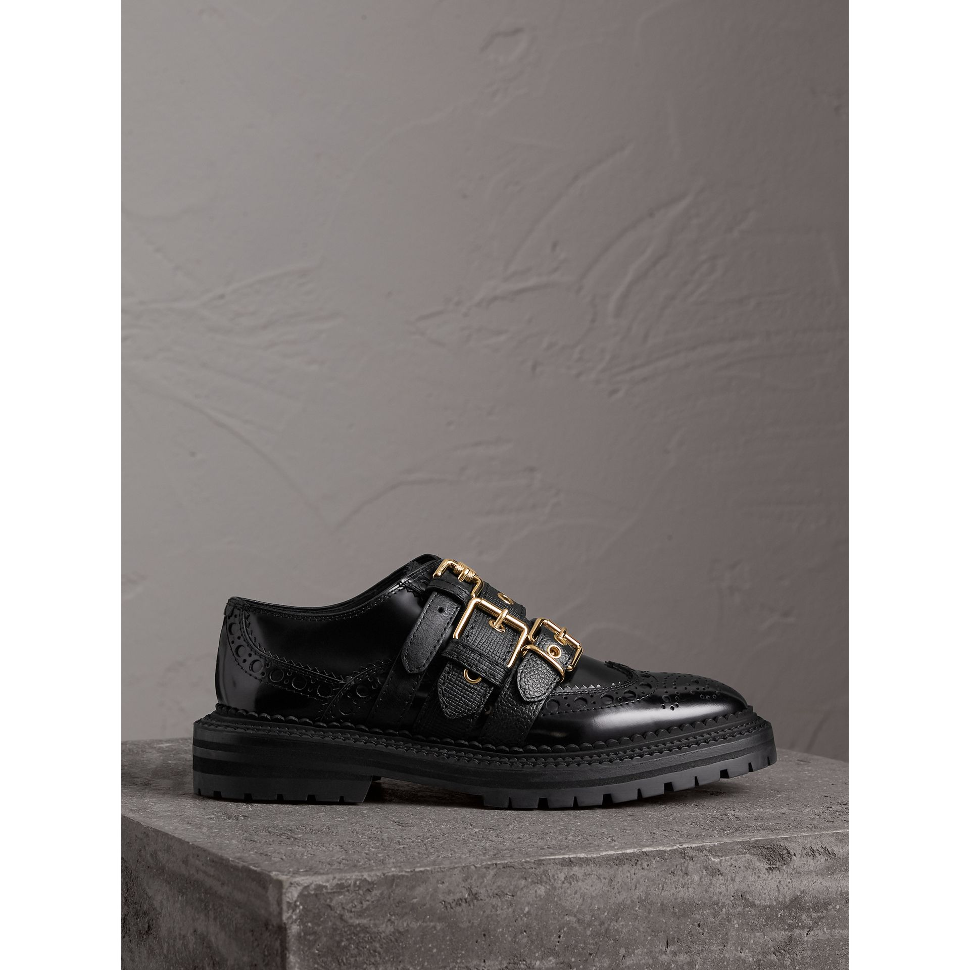 Buckled Polished Leather Brogues in Black - Women | Burberry - gallery image 4