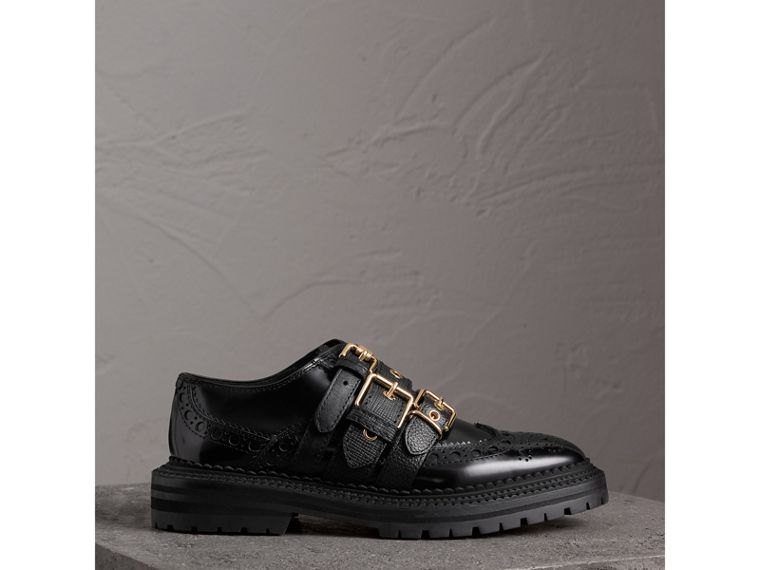 Buckled Polished Leather Brogues in Black - Women | Burberry - cell image 4