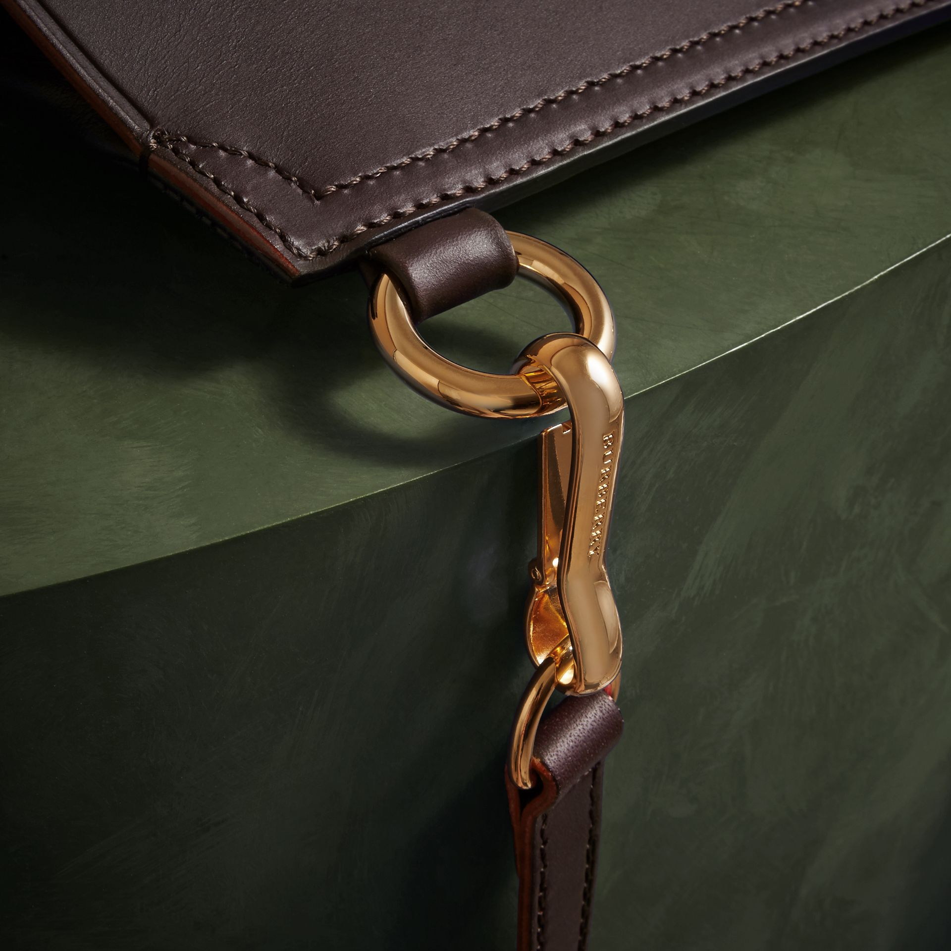 Wine The Small Bridle Bag in Leather - gallery image 6